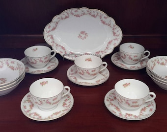"Bridal Rosey 6"" Bowls, Cups and Saucers Made in Germany/Czechoslovakia"