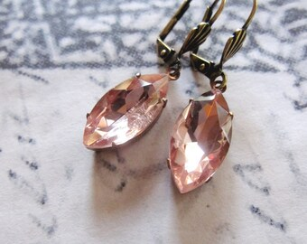 Champagne Vintage Style Earrings, Art Deco, Pink Drops, Downton Abbey Inspired, Gift for Her, Bridesmaid Jewelry
