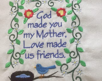 Embroidered tote bag for mom, book bag, reusable shopping bag canvas customizable