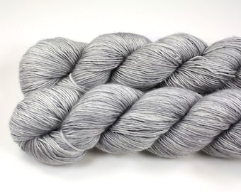 Silver Screen--hand dyed sock weight yarn, merino and silk single ply, (438yds/100gm)