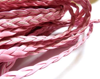 5M Pink Braided Leatheroid Cord, 5mm