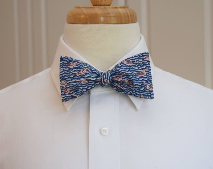 Men's Bow Tie, Liberty of London, blue/maroon/ivory Gaggle goose print bow tie, groomsmen/groom bow tie, wedding bow tie, tuxedo accessory
