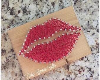 String Art Lips, String Art Kiss, Lips String Art, Valentine Gifts, Love String Art, Lipsense String art, Lipsense, Kiss Decor