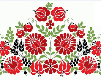 new modern kalocsai hungarian embroidery pillowcase pattern, colorfull, kalocsai style tablecloth, big JPEG/PNG file, instant download