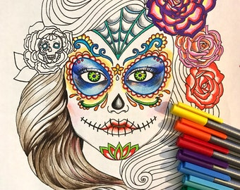 Printable Day of the Dead Coloring Page