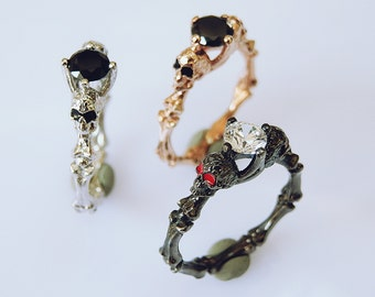 Skull Engagement Ring - Gothic Ring - Skull Ring - Stacking Ring - 925K Sterling Silver Ring - Design Ring - Christmas gifts