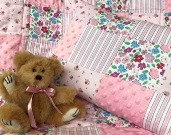 Patchwork crib quilt with bonus matching pillow cover, for baby girl