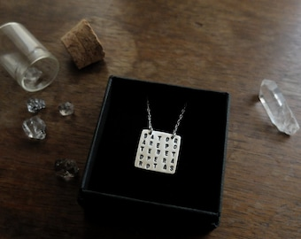 Sator / Rotas Magic Square amulet. OOAK (eco-friendly recycled sterling silver - reversible amulet: SATOR and ROTAS - symbol of Protection)