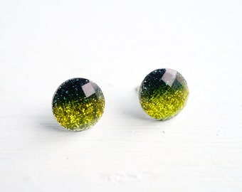 Green Ombre Glitter and Resin Stud Earrings