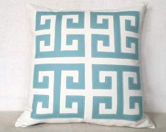 Greek Key Pillow in Seafoam Felt Applique on Creamy White Twill