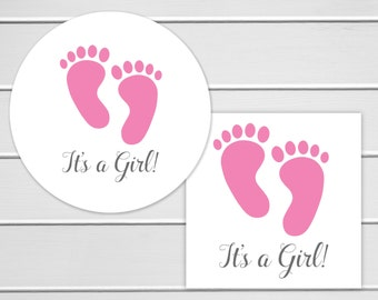 It's A Girl Stickers, Baby Shower Stickers, Baby Shower Envelope Seals, Birth Announcements (#281)