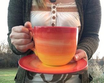 Sunset Yellow and Orange Ombre Jumbo Soup Mug with Matching Saucer Plate - 30 oz. - Extra Large Mug and Dish Set - MTO