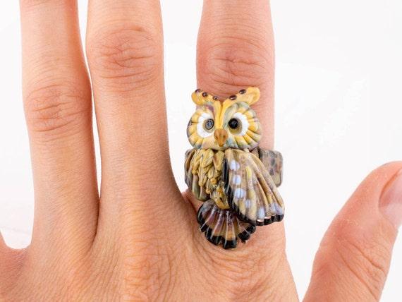 Lampwork glass bird ring, owl ring, forest ring, lampwork owl, glass bird, glass animal ring, lampwork bird ring (size 18 -  P  - 7 1/2)
