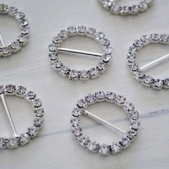 Silver Round Rhinestone Buckles for Invitations or Decoration with 15mm bar