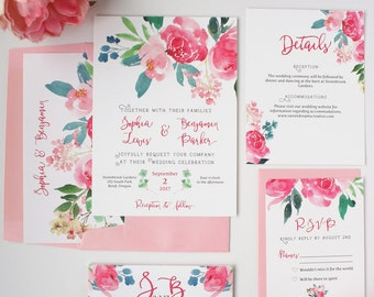 Pink Wedding Invitations - Pink & Green - Wedding Invitations - Romantic Watercolor Floral Collection Deposit