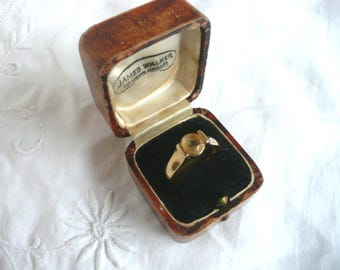 gold plated citrine ring - gold on silver ring - vintage citrine ring -  citrine solitaire  sterling silver ring