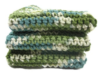 Going Green Crochet Cotton Dish Cloth Wash Cloth Set of Three