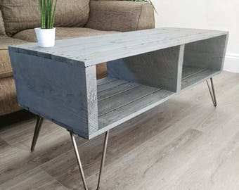 Retro Coffee Table TURVAS | Rustic Reclaimed Pallet Wood | 5 different finishes | Vintage Hairpin Legs | Rectangular Shape TV Stand