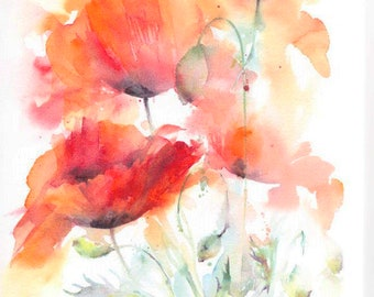 Poppy Card, Blank Greetings Card, Watercolour Card, Watercolor Card, Poppy painting, Poppy Watercolour, Choice of 4 designs, floral card