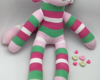Silly Striped Pink And Green Sock Monkey Handmade