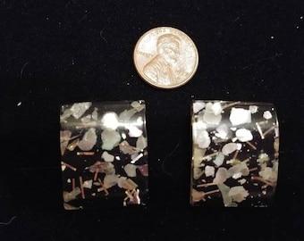 """AMAZING Square """"Confetti"""" Lucite Earrings - Clip"""