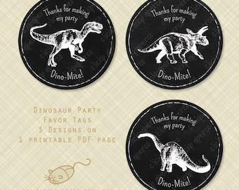 Dinosaur Favor Tags Printable Thank You Round Circle Tag chalkboard instant download digital pdf party treat dino-mite dino mite diy sticker