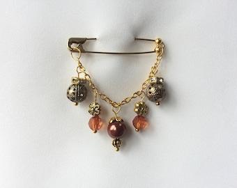 Brown & Bronze Embellished Safety Pin, Hijab Pin