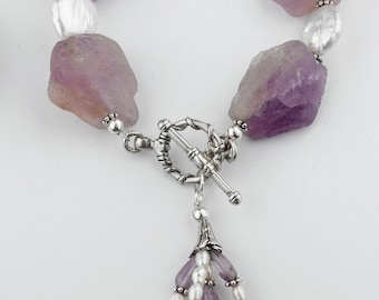 Amethyst and Pearl Sterling Silver Handmade Toggle Statement Bracelet