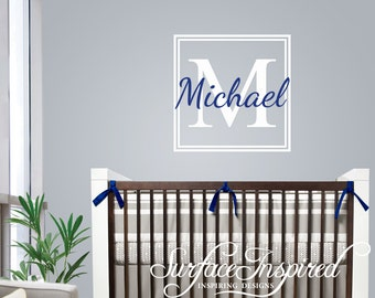 Nursery Wall Decals Name Wall Decal. Personalized monogram name decal for boys and girls nursery.