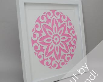 beautiful circle - PAPER CUTTING - handmade art, unique wall art, details, pattern, texture,choose your own color,flower design,modern,white