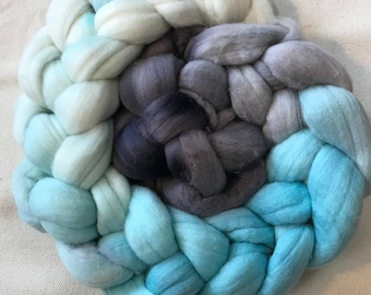 Hand painted merino wool roving in Glacier