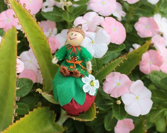 Felt Art Doll, Little Pixies Playing in the Strawberry Patch, felt ornaments