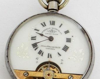 1889 John Pound & Co, London Hebdomas, Weekly Pocket Watch Co Swiss 8-day