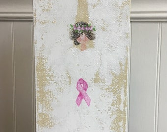 Breast Cancer Angel Painting, guardian angel, angel art, angel wings, gift