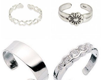 Set of four 925 solid Sterling Silver Toe Rings heart,plain,flower,5cz comes gift boxed