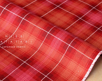 Japanese Fabric Kokka Tsumiki reversible tartan canvas - bright red - 50cm