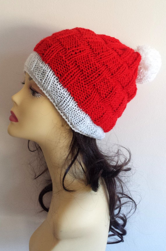 Christmas Hand Knitted Hat,  beanie hat, Santa hat , hand knit women men hat, knitted hat for Christmas