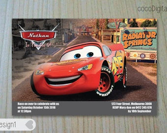 """PRINTED 4x6"""" Cars Themed Birthday Invitation Custom Personalised Printable Boy Any Age 1st 2nd 3rd 4th 5th Party Supplies"""