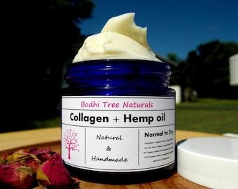 Non-GMO Collagen + Hemp Oil/Glass Jar /Anti Aging Face Cream/Face moisturizer / Collagen Souce is Vegan / Natural Handmade SkinCare