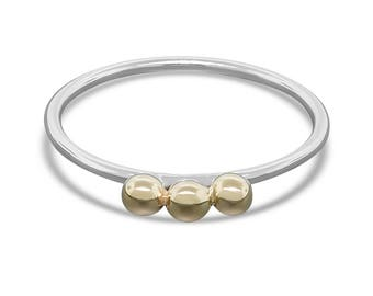 Silver and Gold Beaded Jewelry - Gold Bubble over Silver Ring - Minimalist Ring - Dainty Ring - Gift for Her