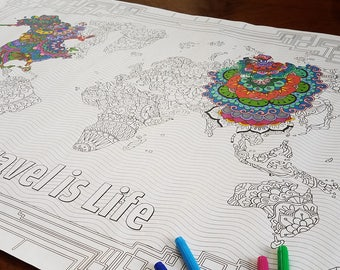 World Map Coloring Poster By Travel Is Life 24 36 Inches