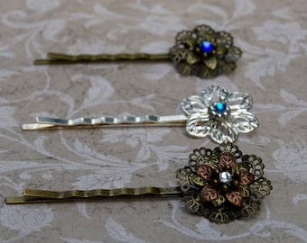 Ornate Metal Flower Hairpin