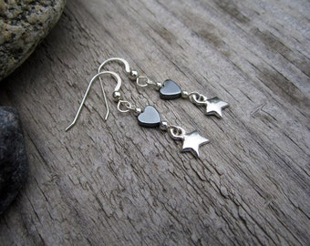 Sterling Star Earrings with Hematite Hearts - Charm Earrings