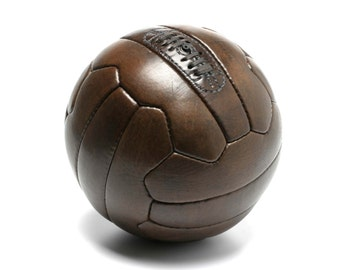 Vintage leather 1950s soccer ball