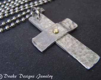 rustic cross necklace hammered mens inspirational jewelry for men or women