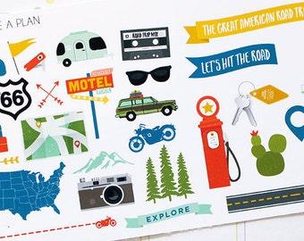 Planner Stickers Road Trip Collection Deco for Erin Condren, Happy Planner, Filofax, Scrapbooking
