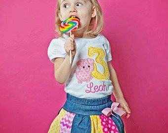 Little Piggie Pig Birthday Girl Princess Embroidered Shirt - FREE PERSONALIZATION