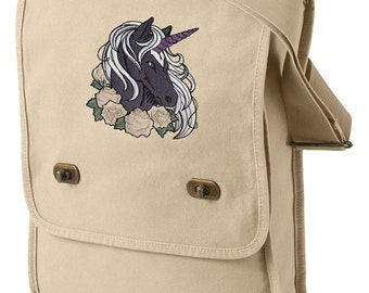 Shadow Unicorn Embroidered Canvas Field Bag