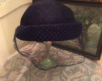 Vintage Hat, Fabric Caplet, Navy Blue, Net Veil