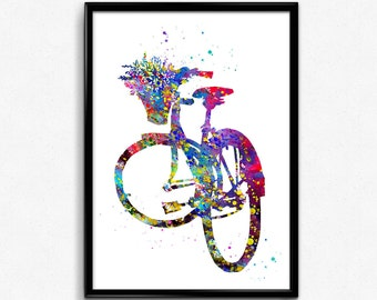 Bicycle with Flower in Basket, Colorful Watercolor, Poster, Instant Download, Kids Room Decor, gift, printable wall art (32)